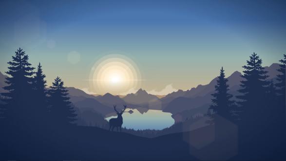 Обои Силуэт оленя, вышедшего из леса на поляну, на фоне горного озера в лучах восходящего солнца, пейзаж из игры Наблюдательная вышка / Firewatch