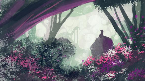 Обои Силуэт человека в треугольной шляпе, сидящего на камне в лесу