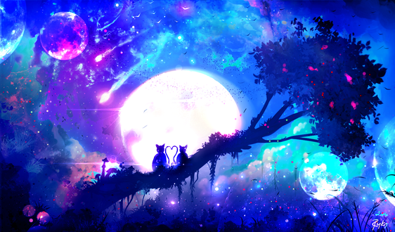 Обои Две влюбленные кошки сидят на дереве на фоне ночного неба и полной луны, by ryky