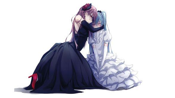 Обои Vocaloid Hatsune Miku / Вокалоид Хатсуне Мику плачет, Мегурин Лука / Megurine Luka утешает