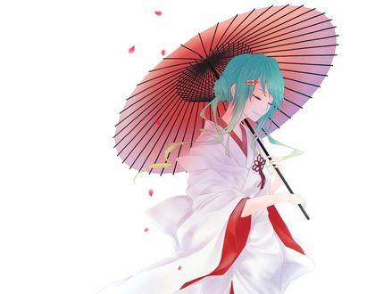 Обои Вокалоид Хатсуне Мику / Vocaloid Hatsune Miku в кимоно с зонтом на белом фоне