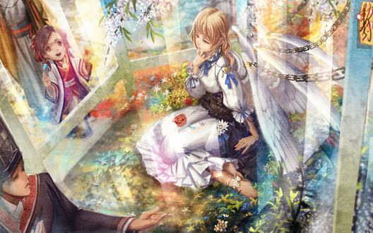 Обои Девочка сидит среди цветов со слезой на лице