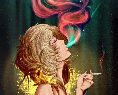 Обои Девушка с сигаретой и разноцветным дымом, by Dottea