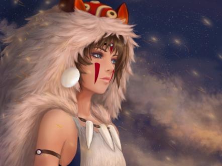 Обои Princess Mononoke / Принцесса Мононоке cтоит на фоне неба, by Tigress1314
