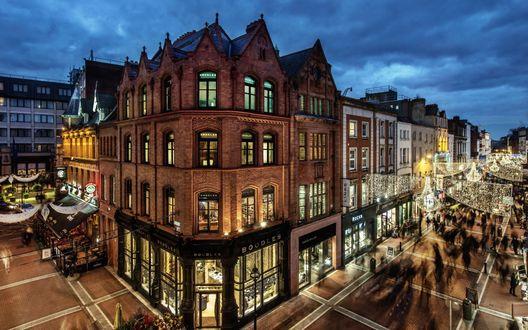 Обои Старинное здание улица Графтон-стрит, Дублин, Ирландия