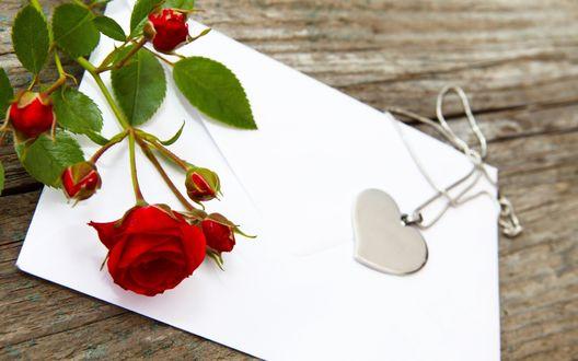 Обои Кулон в форме сердца и красная роза на бумаге