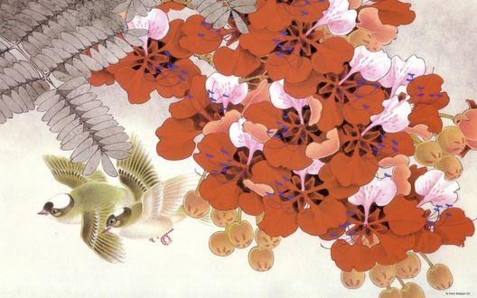 Обои Птицы среди красных цветов, японская живопись