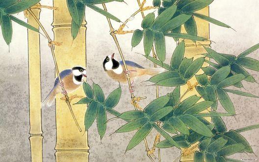 Обои Птицы среди бамбука, японская живопись
