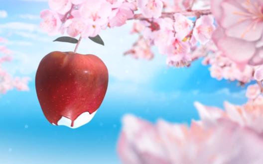 Обои Красное яблоко среди розовых цветов