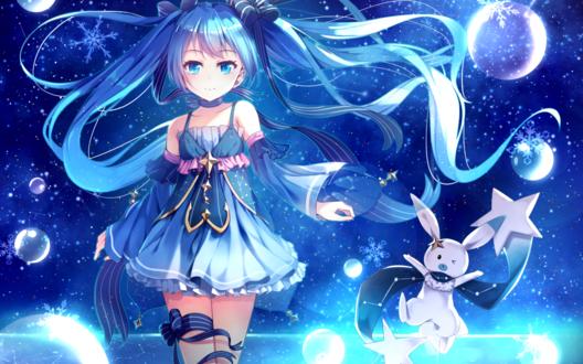 Обои Вокалоид Мику Хацунэ / Miku Hatsune на фоне ночного неба