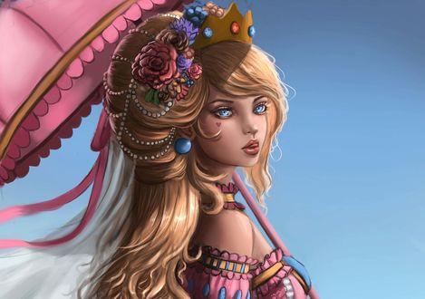 Обои Девушка в короне с зонтом в руке, by Lana Kerr