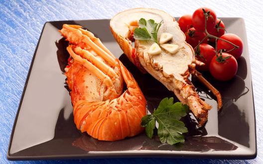 Обои Разрезанный омар на блюде с помидорами черри и листочками зелени