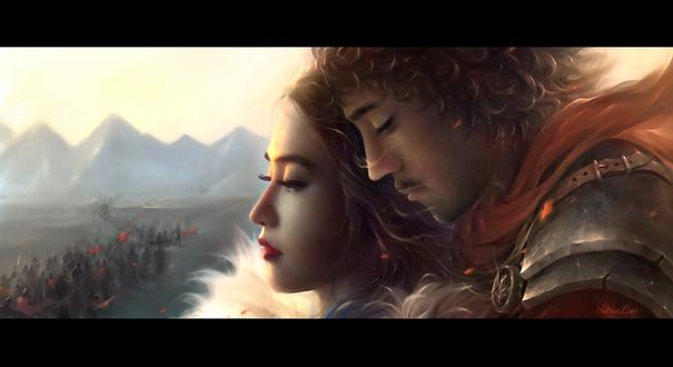 Обои Воин прощается со своей возлюбленной перед походом на войну