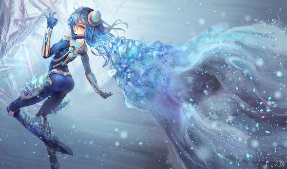 Обои Девушка с синими волосами из льда, by jaychau