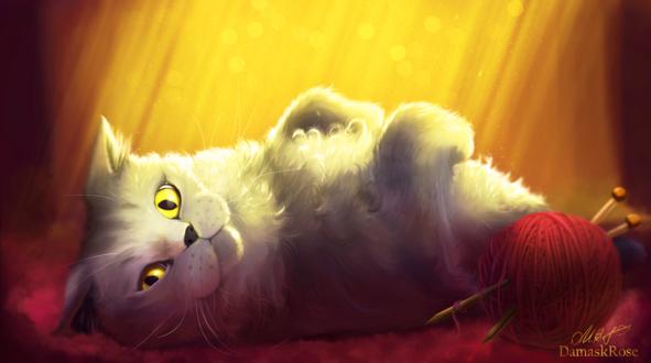 Обои Белая кошка с желтыми глазами лежит возле клубка ниток со спицами, by DamaskRose0503