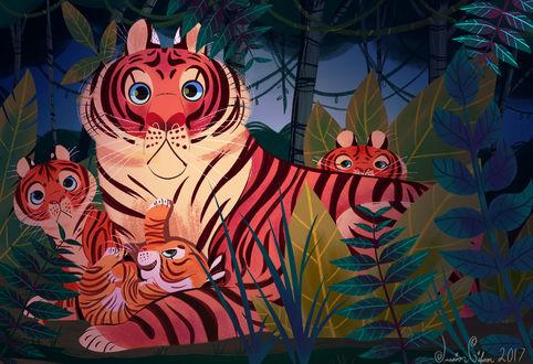 Обои Тигрица с детенышами на природе, by JessieDrawz