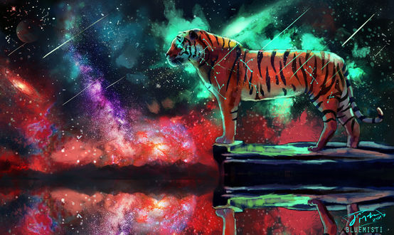 Обои Космический тигр, by Bluemisti