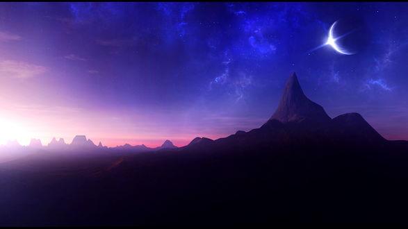 Обои Планета со вспышкой в звездном небе над горами