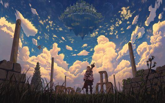 Обои Девушка с посохом за спиной смотрит на парящий в небе город, вокруг которого летают драконы, by Nauimusuka