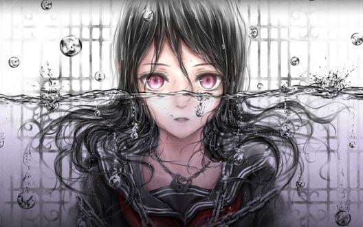 Обои Темноволосая девушка с розовыми глазами под водой, by Nuwanko