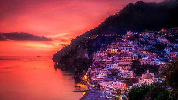 Обои Город Позитано, Италия