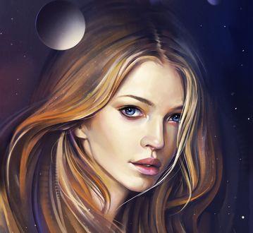 Обои Портрет девушки на фоне неба, by Aleksandr Sidelnikov
