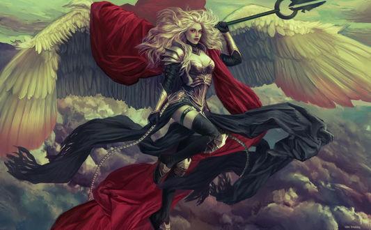 Обои Девушка с крыльями парит в небе, by Diana Van Damme