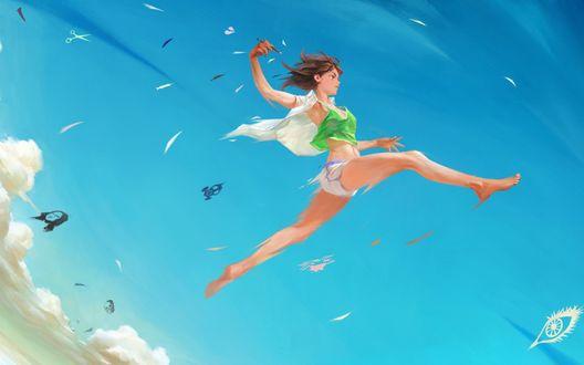 Обои Девушка в прыжке на фоне голубого неба, by Nababa