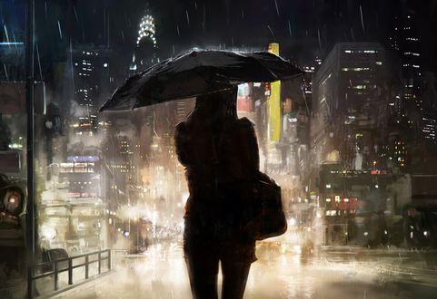 Обои Силуэт девушки с зонтом на фоне мегаполиса