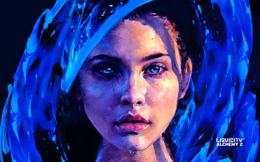 Обои Рисунок красивой голубоглазой девушки