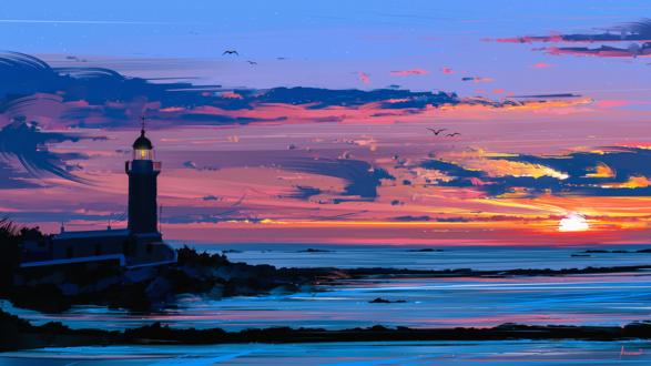 Обои Маяк у моря на фоне закатного неба