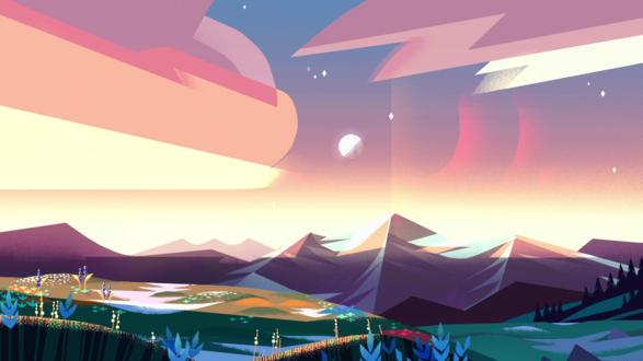Обои Горный пейзаж из мультсериала Вселенная Стивена / Steven Universe