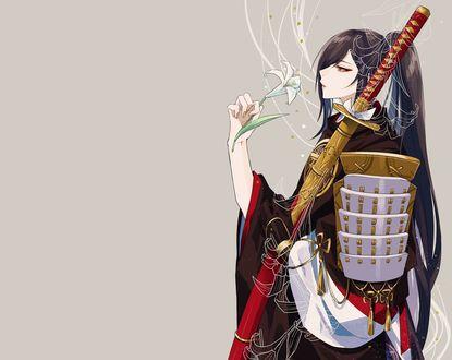 Обои Juzumaru Tsunetsugu с катаной из игры Touken Ranbu / Танец мечей