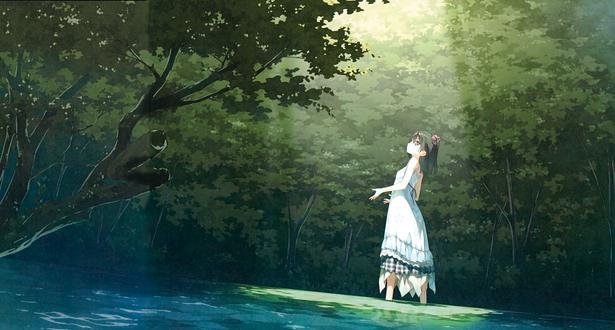 Обои Девушка стоит в лесу и смотрит вверх на луч света, by Kantoku