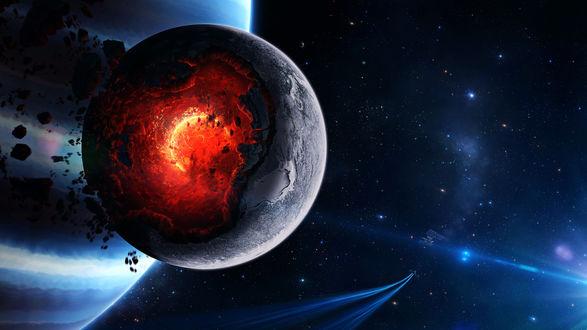 Обои Спутник и звездолет на фоне разрушающейся планеты в космосе