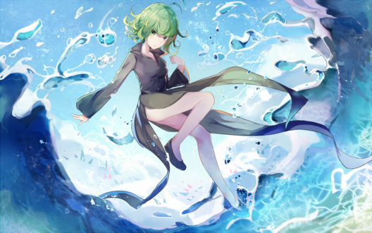Обои Тацумаки / Торнадо / Senritsu no Tatsumaki из аниме и манги Ванпанчмен / One Punch Man парит над водой, автор оригинала 迷途羊