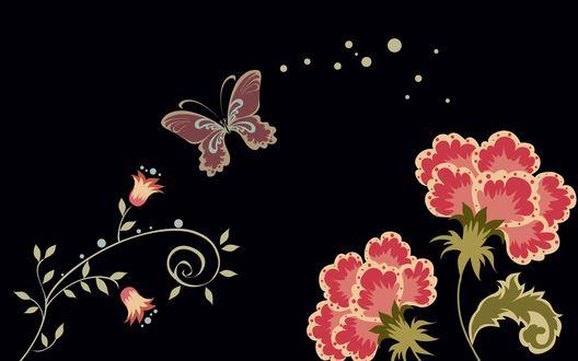 Обои Светящиеся бабочки и цветы на черном фоне