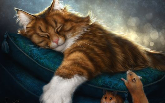 Обои Мыши сидят возле подушек на которых спит большой, бело-рыжий кот