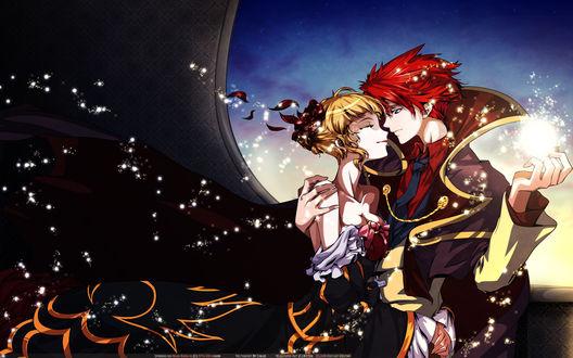 Обои Беатриче / Beatrice и Баттлер Уширомия / Battler Ushiromiya из аниме Когда плачут чайки / Umineko no Naku Koro ni