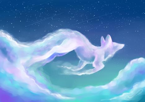 Обои Лиса из облаков, by Martith
