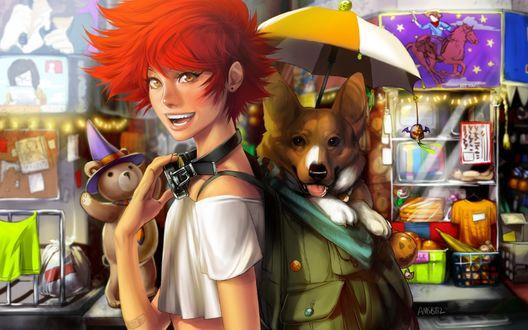 Обои Радикал Эдвард / Edward Wong Hau Pepelu Tivrusky IV и собака Эйн / Ein из аниме Ковбой Бибоп / Cowboy Bebop
