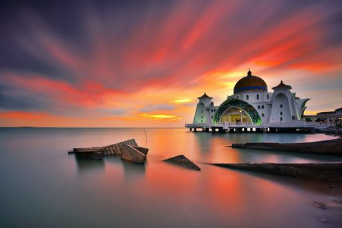 Обои Мечеть Селат Мелака, Малаккский пролив, Малайзия