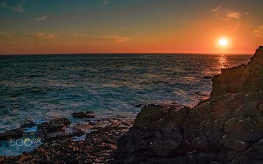 Обои Закат в бухте Cascais, Portuguese / Кашкайш, Португалия, фотограф Jose Oliveira
