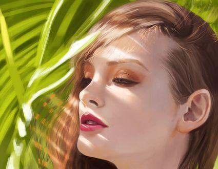Обои Девушка на фоне листьев, by pu reum lee