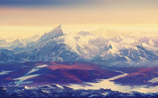 Обои Горный пейзаж в золотистом свете