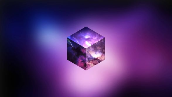 Обои Фиолетовый космический куб