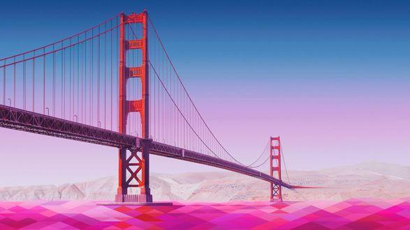 Обои Geometric Golden Gate Bridge / Мост Золотые Ворота с геометрической ретушью