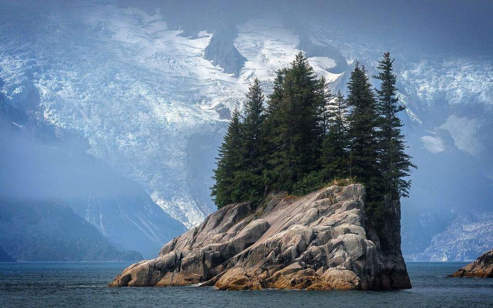 Обои для рабочего стола Островок с елками в озере среди ледников Аляски, США, национальный парк Кенай-Фьордс / Alaska, USA, national Park Kenai fjords