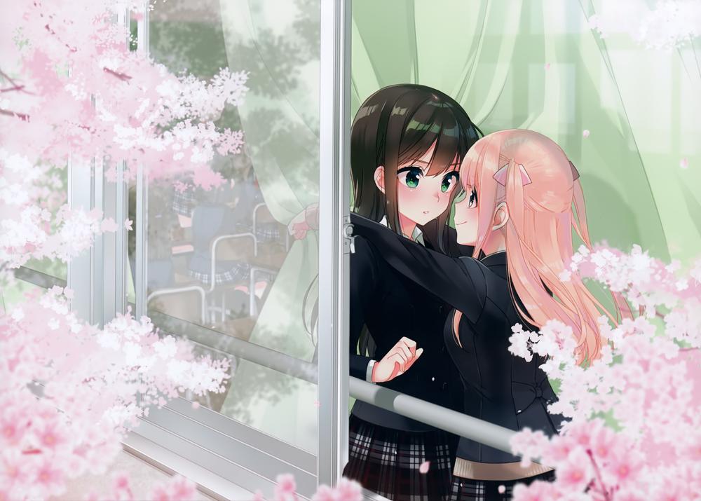 Обои для рабочего стола Школьница обнимает смущенную одноклассницу, стоя в классе за занавеской, у окна, за которым цветет сакура, art by koruri