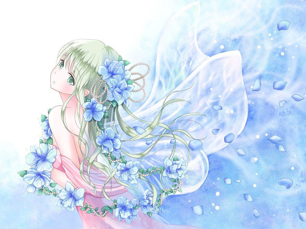 Обои для рабочего стола Девушка с голубыми цветами и крылышками бабочки